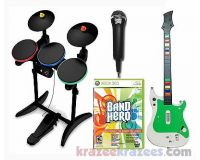 Picture of XBox 360 BAND HERO Video Game BUNDLE Set w/ drums guitar microphone super WOW