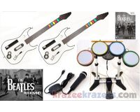 The Beatles Rock Band Nintendo Wii Bundle Kit w/ 2 Guitars Drums Mic