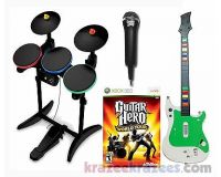Picture of XBox 360 Guitar Hero WORLD TOUR Video Game BUNDLE Set w/ drums mic deluxe kit