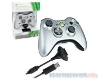 Picture of Microsoft Xbox 360 Wireless Controller Silver w/ Play and Charge