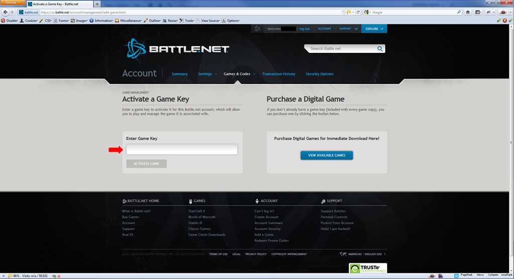 Add Blizzard Game Authentication CD Key to Your Battle net Account